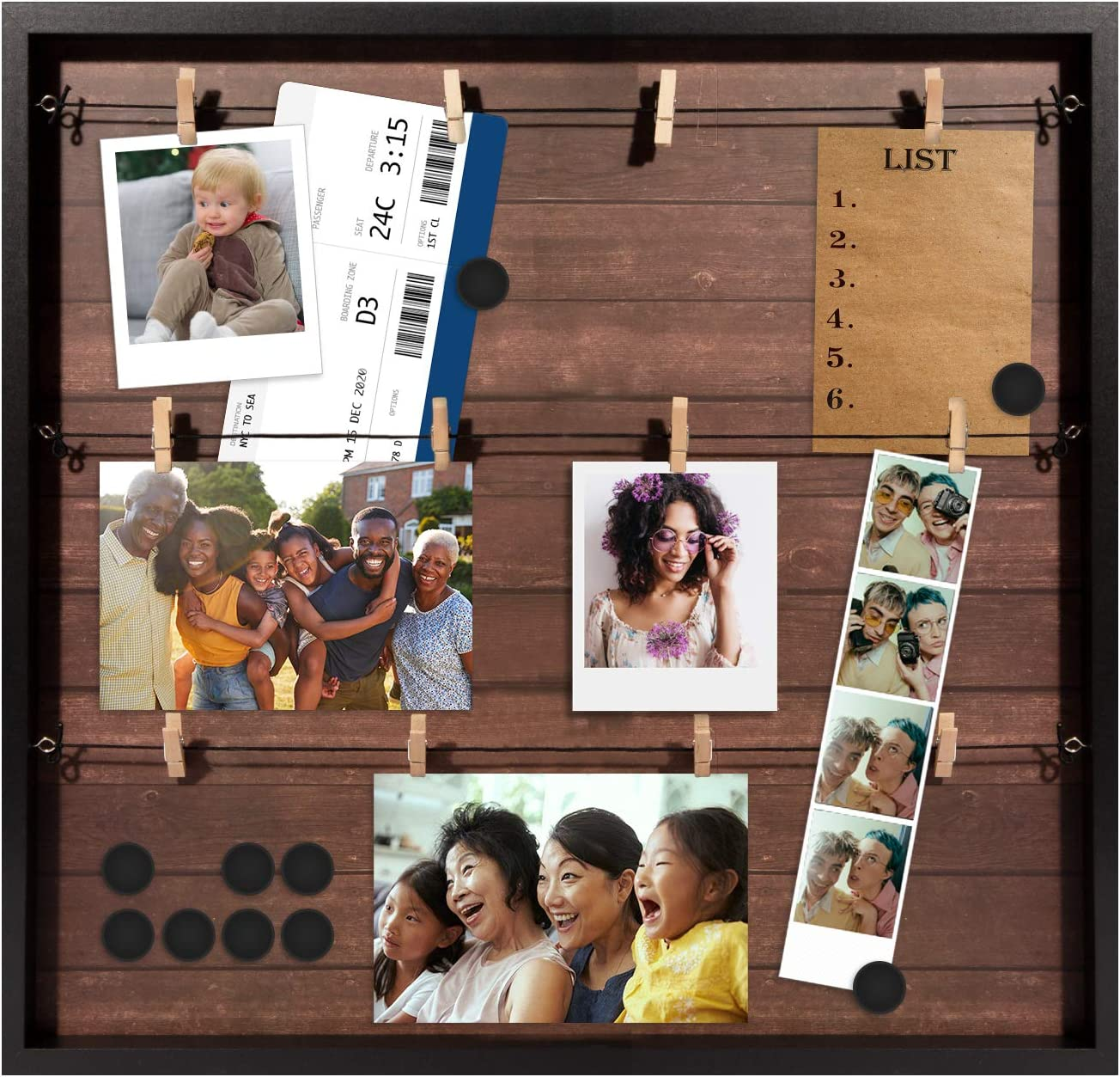 """Special price for a limited time Houseables Max 56% OFF Magnetic Collage Frame 20"""" Wood Rustic Dark x"""