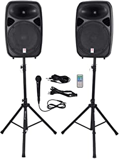 "Rockville Dual 15"" Powered Bluetooth +Mic+Speaker Stands+Cables, Version 2 (RPG152K V2)"