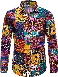 Casual Shirts for Men's Hawaiian 3D Printing Slim-Fit Turn-Down Long Sleeve Dress Shirt Blouse Tops