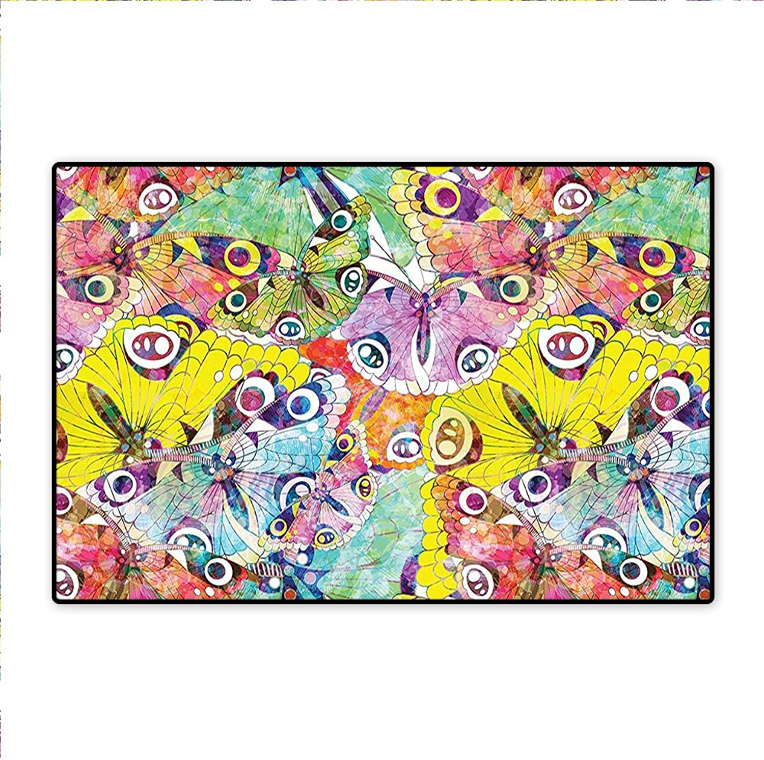 Area Rug Funky Curly Detailed Ethnic Doodles Tangled Trippy Pyschedelic Botanical Nature color Non-Toxic Non-Slip Reversible Waterproof 5'x6'