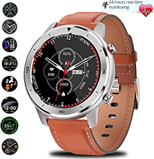 Smart Watch for Android and iOS Phone IP68 Waterproof, Activity Tracker Smartwatch with Sleep Monitor All-Day Heart Rate Waterproof, Watch for Men Women (All silver-brown skin)