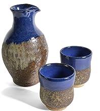 product image for Dock 6 Pottery 3-piece Sake Set, Copper/Blue