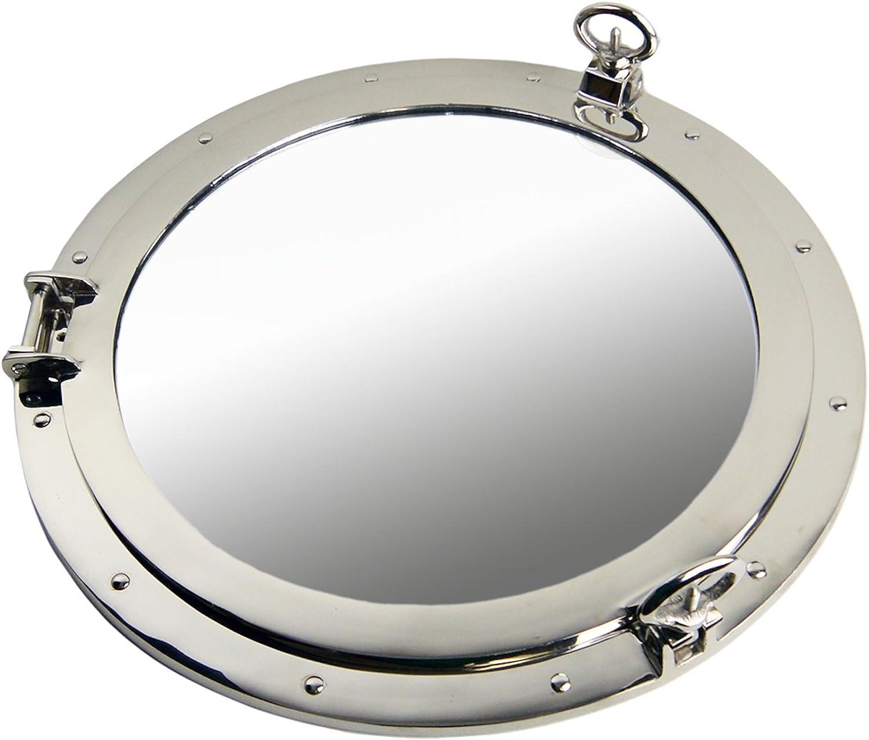 20  Nickel Finish Over Brass Porthole Mirror Nautical Tropical Home Decor