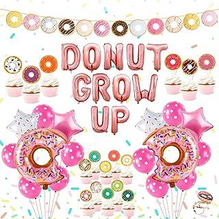 Donut Birthday Party Supplies Kit – Donut Grow Up Party Decorations, Donut Grow Up, Star and Donut Foil Balloon, Latex Bal...