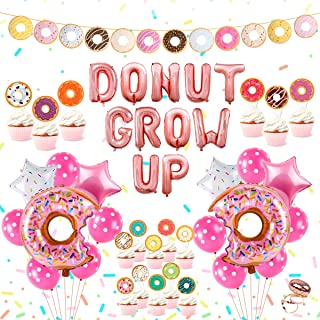 Donut Birthday Party Supplies Kit – Donut Grow Up Party Decorations, Donut Grow Up, Star and Donut Foil Balloon, Latex Balloon, Donut Cake Topper and Donut Garland Banner for Girls Boys Birthday Party