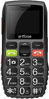 Artfone C1 Mobiele telefoon voor oudere mensen met grote knoppen, SOS-functie, 1,77 inch display, dual sim, snel oproepen,...