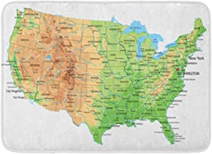 Doormats Bath Rugs Outdoor/Indoor Door Mat USA High Detailed United States of America Physical Map Labeling Topographic Ba...