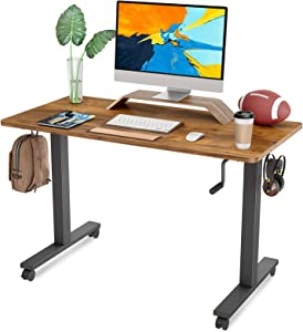 FAMISKY Crank Adjustable Height Standing Desk, 40 x 24 Inches Manual Stand Up Desk, Sit Stand Workstation for Home Office with Handle and Splice Board, Black Frame/Walnut Top