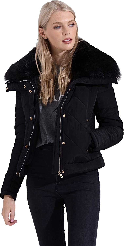 shelikes Womens Winter Black Faux Fur Lined Bomber Short Padded Jacket