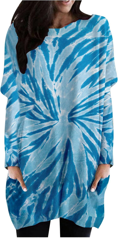 Sczwkhg Dresses for Women Summer Casual Long Sleeve O-Neck Skirt Tie-dye Printing Wedding Guest Beach Party Mini Sundress