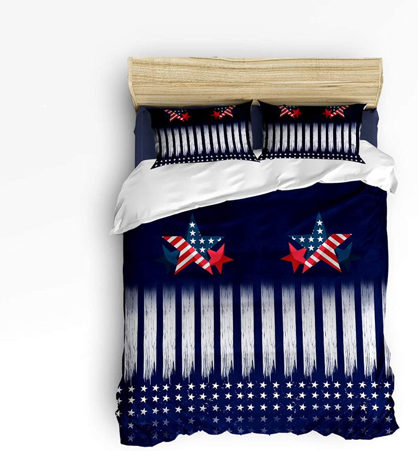 Flag of The United States Twin Size 4 Piece Bedding Set, Ultra Soft Microfiber Lightweight Microfiber Duvet