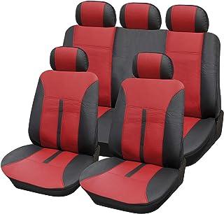 Lestarain Autoschonbezug Set, 11 teiliges Set Autositzbezüge universal Schonbezüge aus Kunstleder für Autos Schwarz + Weinrot