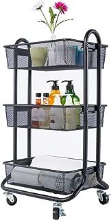 DESIGNA 3-Tier Mesh Utility Cart, Rolling Storage Art Carts with Handle Black