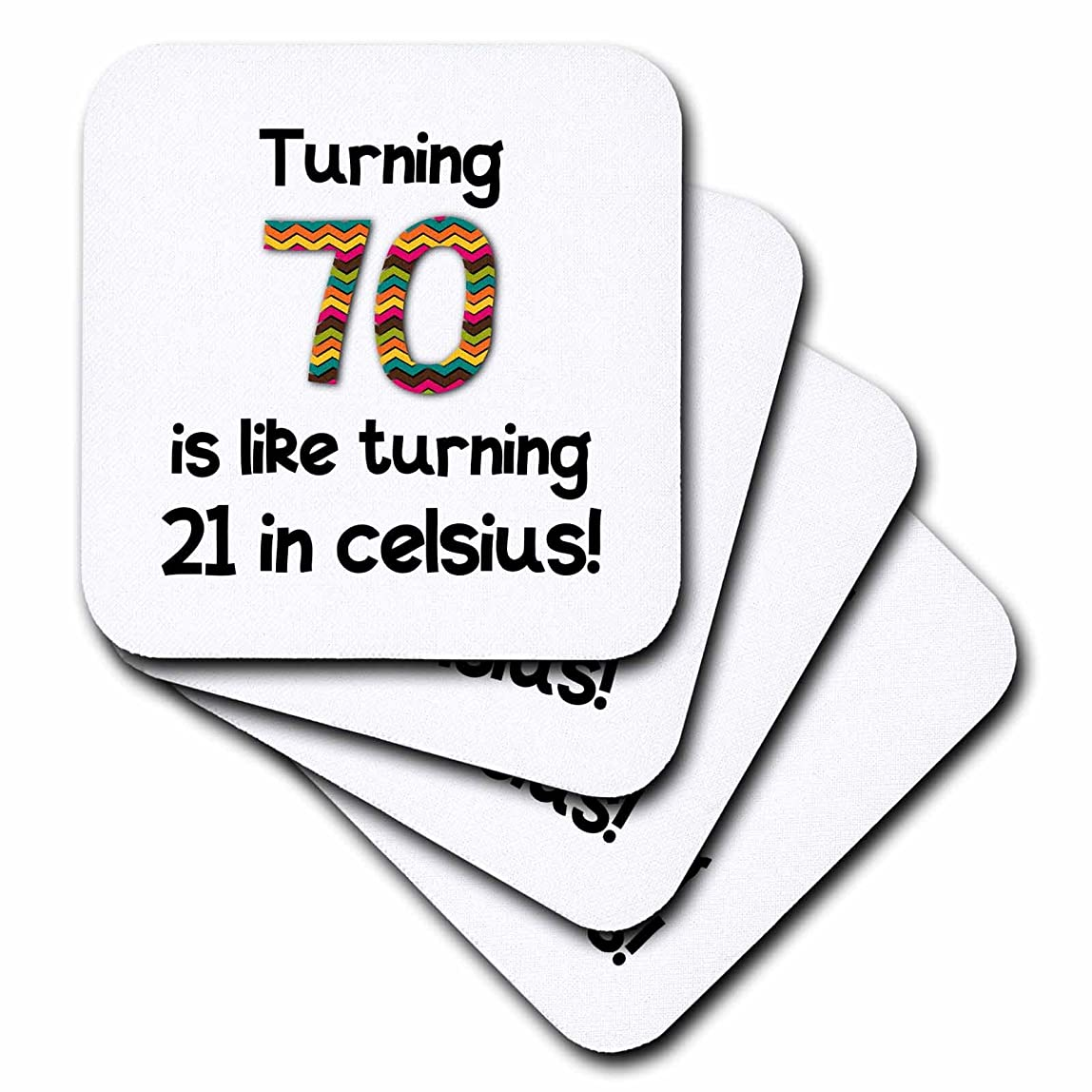 3dRose CST_184965_3 Turning 70 is Like Turning 21 in Celsius Humorous 70th Birthday Gift Ceramic Tile Coaster (Set of 4) dkkbijw413474