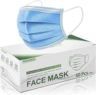 Hotodeal 50 Pcs Disposable Face Masks, Breathable Face Mask 3 Layer Protection Facemask, Lightweight Dust Protective Facia...