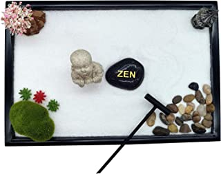 Meditation Zen Garden Large Office Tabletop Mini Rock Sand Garden Rake Tray Accessories Sandbox Home Table Wooden Base Pea...
