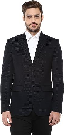 LUXURAZI Single Breasted Partywear Blazer with Designer Microdot Pattern in Blue