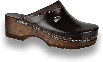 Leon B4 Zuecos Zapatos Zapatillas de Cuero Para Mujer
