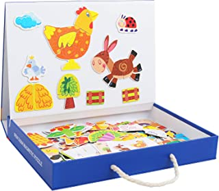 QZM Magnetic Puzzles Art Easel Farm Animals Wooden Puzzles Game to Toddlers Drawing Board Jigsaw Puzzle Set- Learning & Educational Game Toy for Kids Age 3+