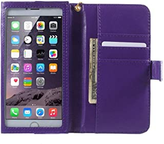 DFV mobile - Crazy Horse PU Leather Wallet Case with Frame Touchable Screen and Card Slots for => SAMSUNG GALAXY A6 (2018) > Violet