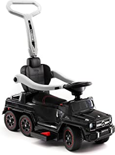 Moderno Kids Mercedes G63 AMG 6X6 Toddler Push Car Stroller Convertible to Foot to Floor Toy or Battery Powered Children Electric Ride On + Integrated MP3 Music Player + Working LED Lights (Black)