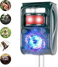 JIA LE Ultrasonic Animal Repeller, Outdoor Solar Powered Weatherproof Repeller, Motion Activated with Flashing LED Light and Sound Effectively Scares Away Cats, Dogs, Squirrels, Racoon (Grass Green)