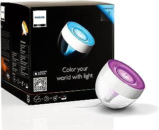 Philips Hue Iris - Lámpara de mesa conectada, iluminación inteligente, controlable vía Smartphone y accesorios Hue, 16 millones de colores, color transparente