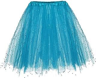 Womens Dress, Womens Glitter Paillette Elastic 3 Layered Short Skirt Adult Tutu Dancing Mini Skirt