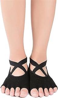 SANIQUEEN.G, 2 Pares Mujer de Calcetines de Mitad Dedos Separados para Yoga,Pilates y Baile Calcetines Fitness/Danza/Ballet Calcetín