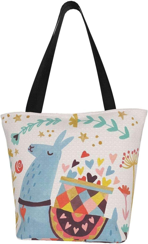 Llama Love Gift Blue Lovely Themed Printed Women Canvas Handbag Zipper Shoulder Bag Work Booksbag Tote Purse Leisure Hobo Bag For Shopping