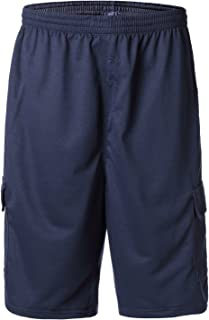Greatrees Men's Big & Tall Elastic Waist Fleece Cargo Shorts