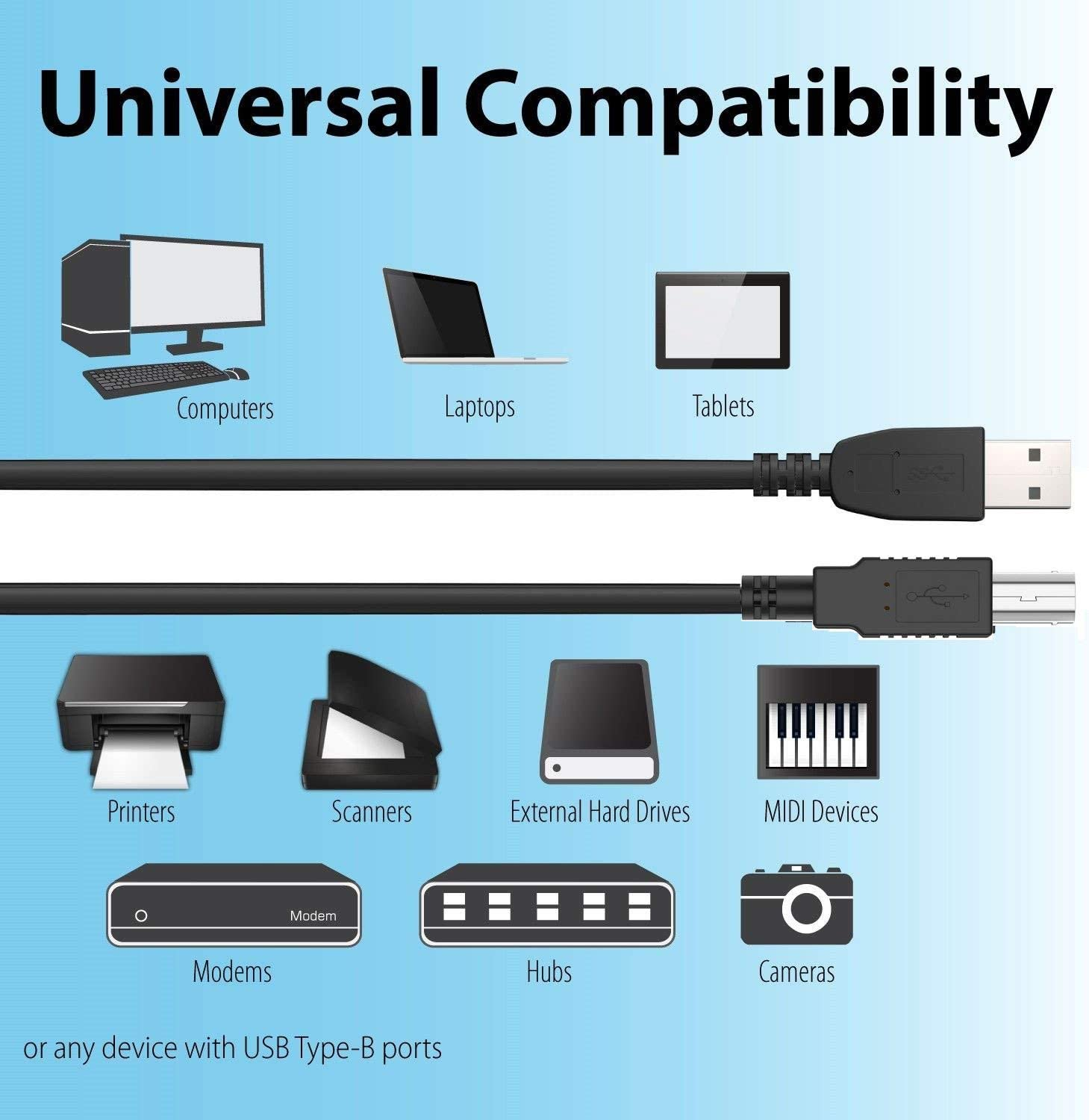Digipartspower 6ft USB Cable Data PC Cord for HP Scanjet G3110 G4010 G4050 L1957A#B1H L1957A Scanner Data Cord