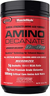 MuscleMeds Amino DECANATE, Intra, Post Workout Drink, Full Spectrum Amino Acid Complex, Leucine, Muscle Recovery, Fruit Pu...
