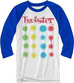 Twister Logo Board Game Raglan T-Shirt Adult Tee 3/4 Length Sleeve Classic Retro Funny Adult Mens Graphic Shirt