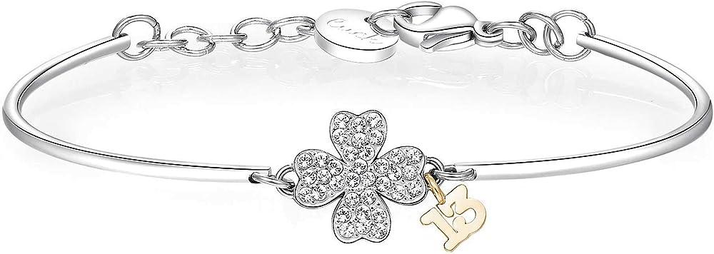 Brosway chakra trendy bracciale per donna in acciaio con quadrifoglio e scritta 13 cristalli swarovski BHK320