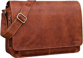 """STILORD Tom"""" Vintage Leder Umhängetasche für Studium Uni Büro Arbeit 15 Zoll Laptoptasche DIN A4 Schultertasche Messenger Bag Echtleder"""