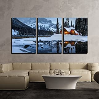 wall26 - 3 Piece Canvas Wall Art - Winter Landscape with Cabin Hut at Night - Modern Home Decor Stretched and Framed Ready to Hang - 24
