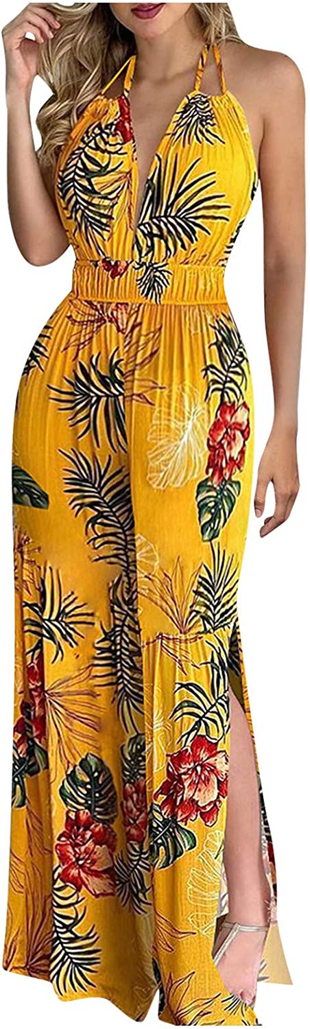 Fankle Casual Sleeveless Scoop Neck Floral Printed Crop Wide Leg Culotte Jumpsuit