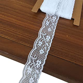 Olive Lace 1.5 inches Wide 10 Yards White Trim lace Ribbon with Floral Pattern for Bridal Wedding Decorations, Sewing DIY Making and DIY Crafts (h144 White)
