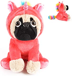 Joy Amigo Cute Pug Stuffed Animal Pugicorn Dog Dressed as Hot Pink Unicorn | Plush Soft Puppy Toy in Costume with Spark Horn Rainbow Mane and Tail | Great Gift for Kids | 12 Inch