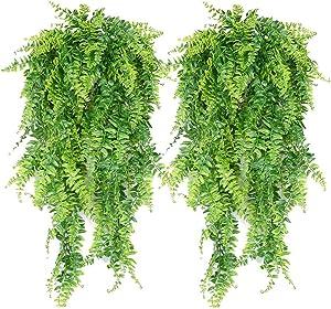 Artificial Plants Faux Hanging Plant Fake Boston Ferns Vines Plastic Artificial Hanging Plants for Homes Decoration (2 PCS)