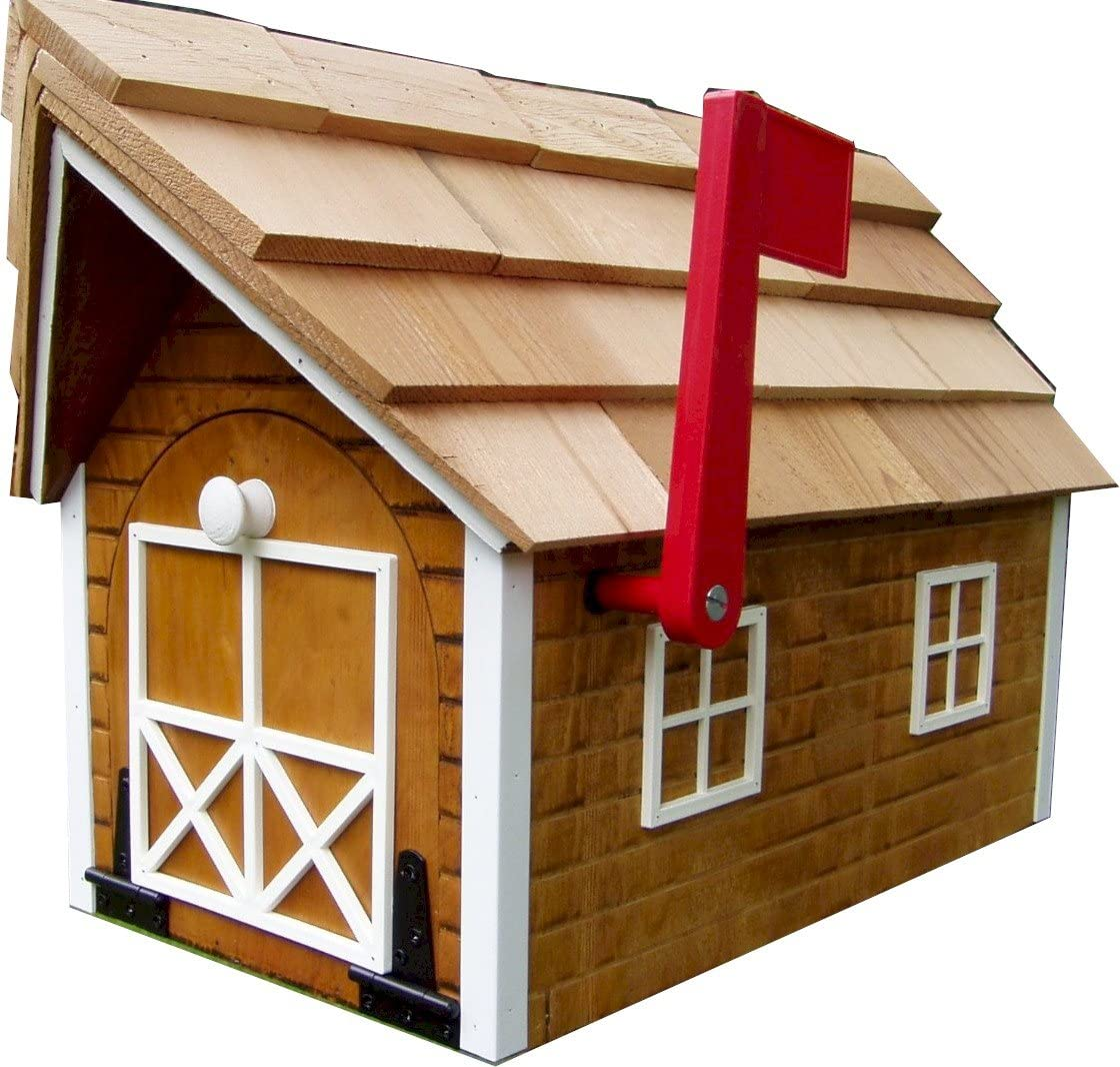 Log Cabin-look Free Shipping New Cheap Mailbox Cedar Stain White Amish Finish with Trim
