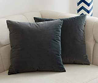 JSBYY Velvet Throw Pillow Covers Solid Color Decorative Square Soft Cushion Cases for Sofa Car 18x18 Inch Set of 2 Dark Grey