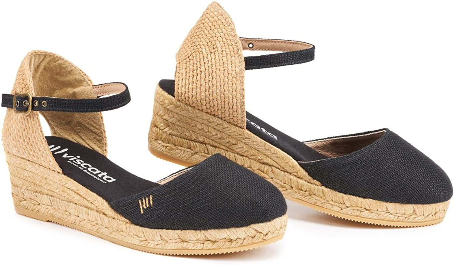 VISCATA Handmade in Spain Canet Linen 2  Wedge, Ankle-Strap, Closed Toe, Classic Espadrilles Heel