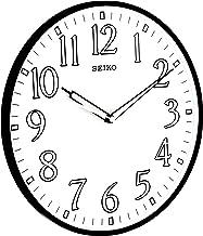 ساعة الحائط سيكو 12 بوصة بإطار أسود مضيء مرقمة