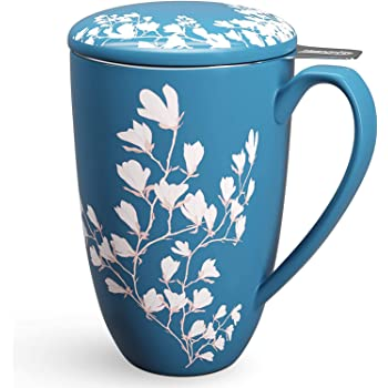 Immaculife Tea Cup with Infuser and Lid - Ceramic Tea Mug with Lid - Teaware with Filter 15oz, Navy Flower