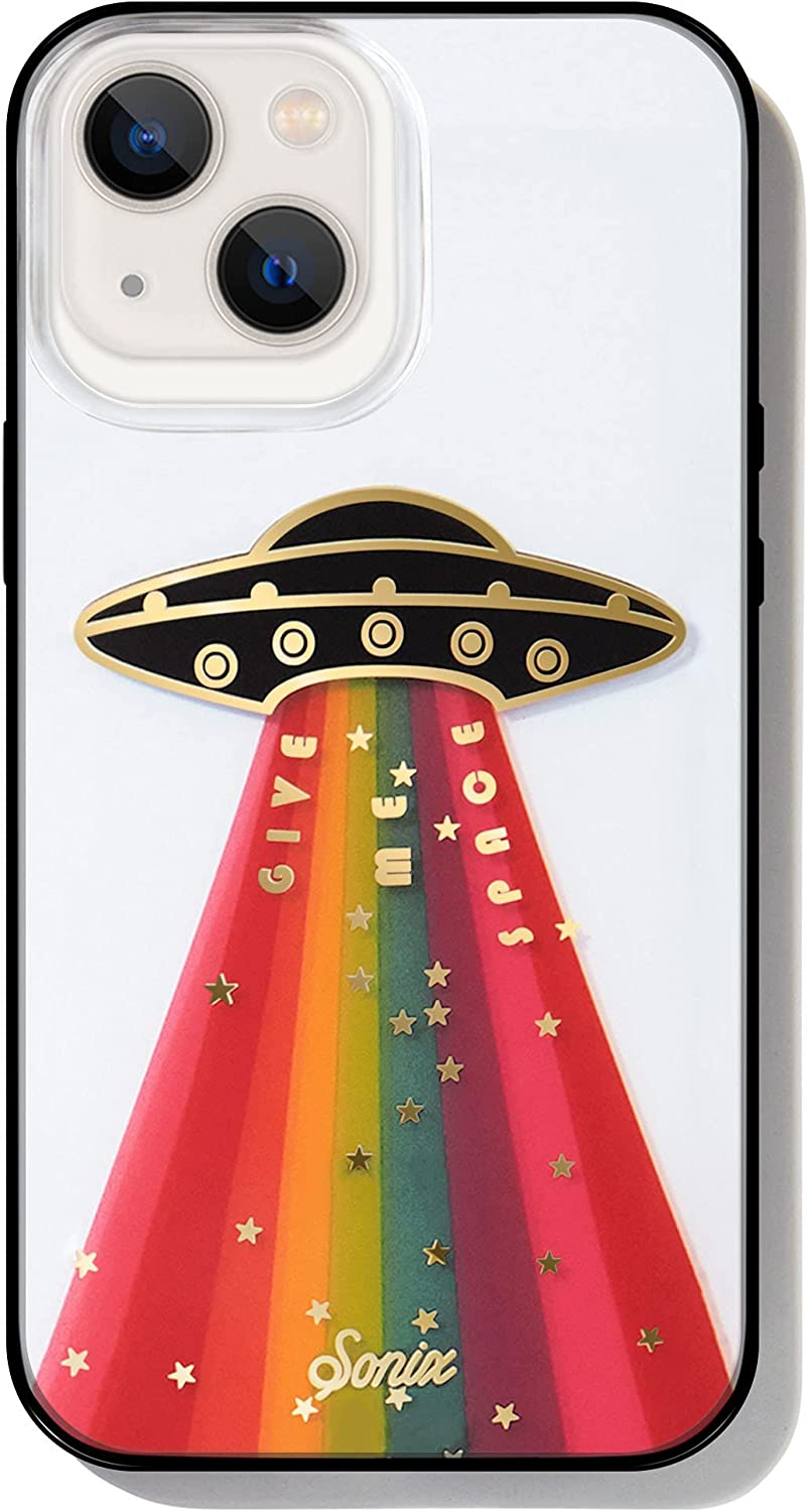 Sonix Give Me Space Case for iPhone 13 [10ft Drop Tested] Protective Rainbow UFO Spaceship Clear Cover for Apple iPhone 13