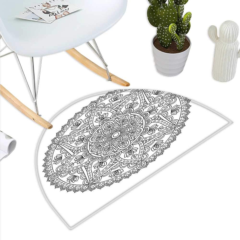 Lotus Semicircle Doormat Oriental Mandala Pattern Flower Petal Effect Arabic Style Monochrome Boho Design Halfmoon doormats H 47.2  xD 70.8  Grey White