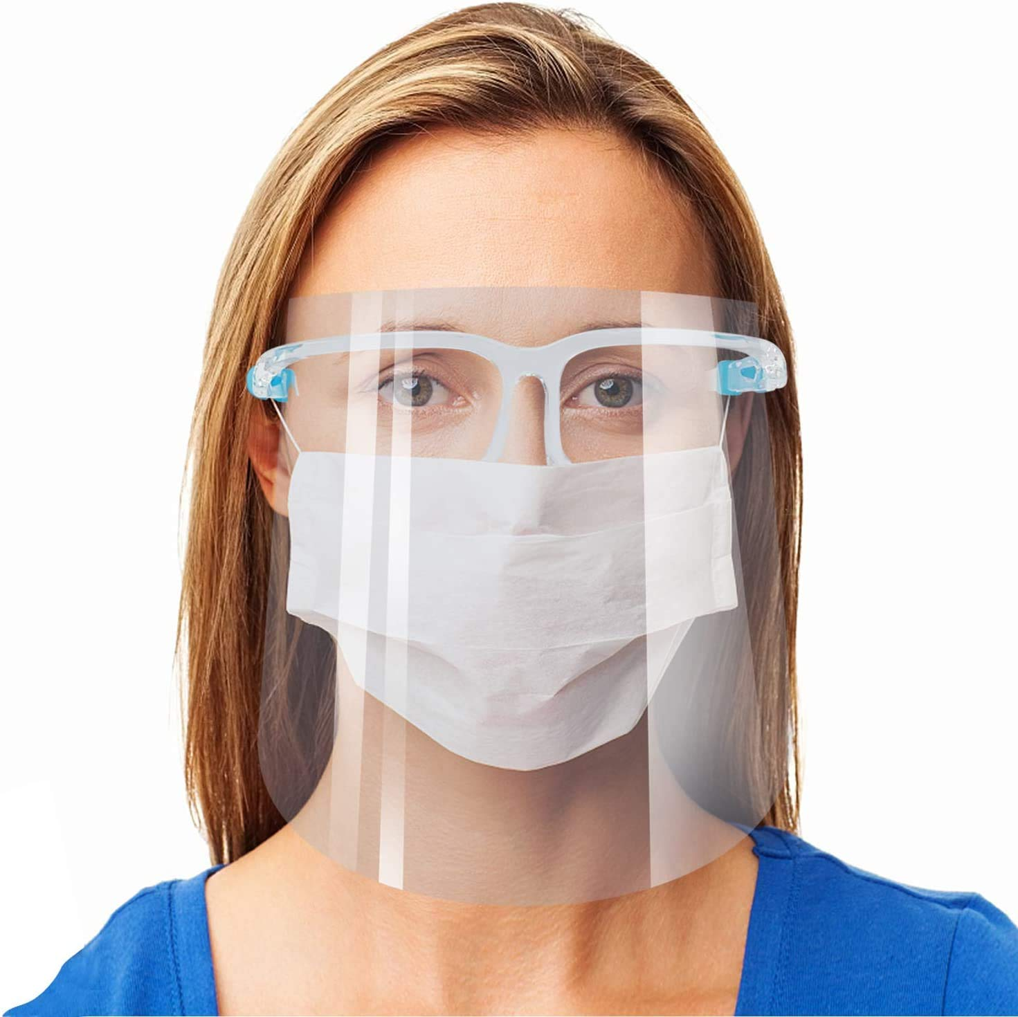Safety Face Shield Reusable Goggle Shield Wearing Glasses Face Visor Transparent Anti-Fog Layer Protect Eyes from Splash
