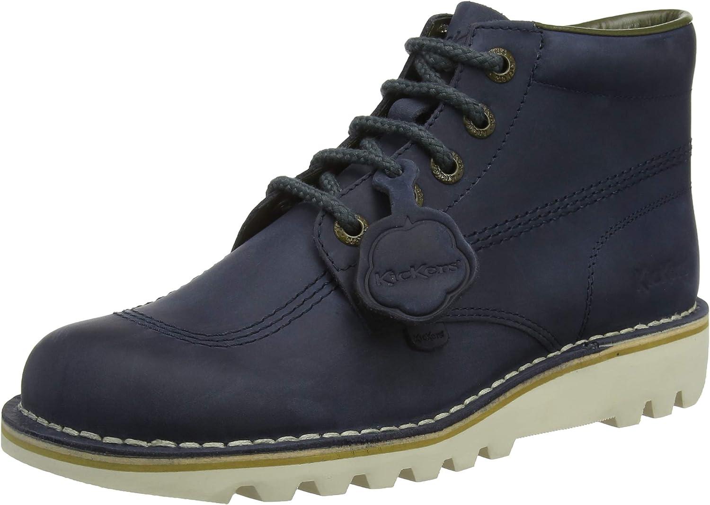 Kickers Kick Hi Womens Leather Matt Ankle Boots in Navy